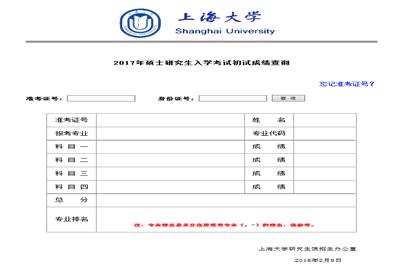 2018上海大学在职研究生(非全日制)成绩查询时间及入口