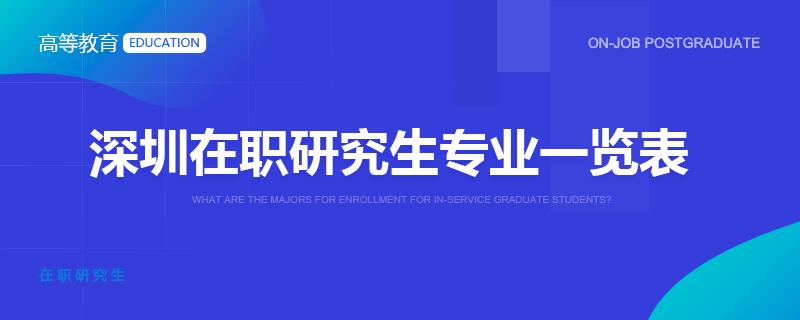 深圳在职研究生专业一览表