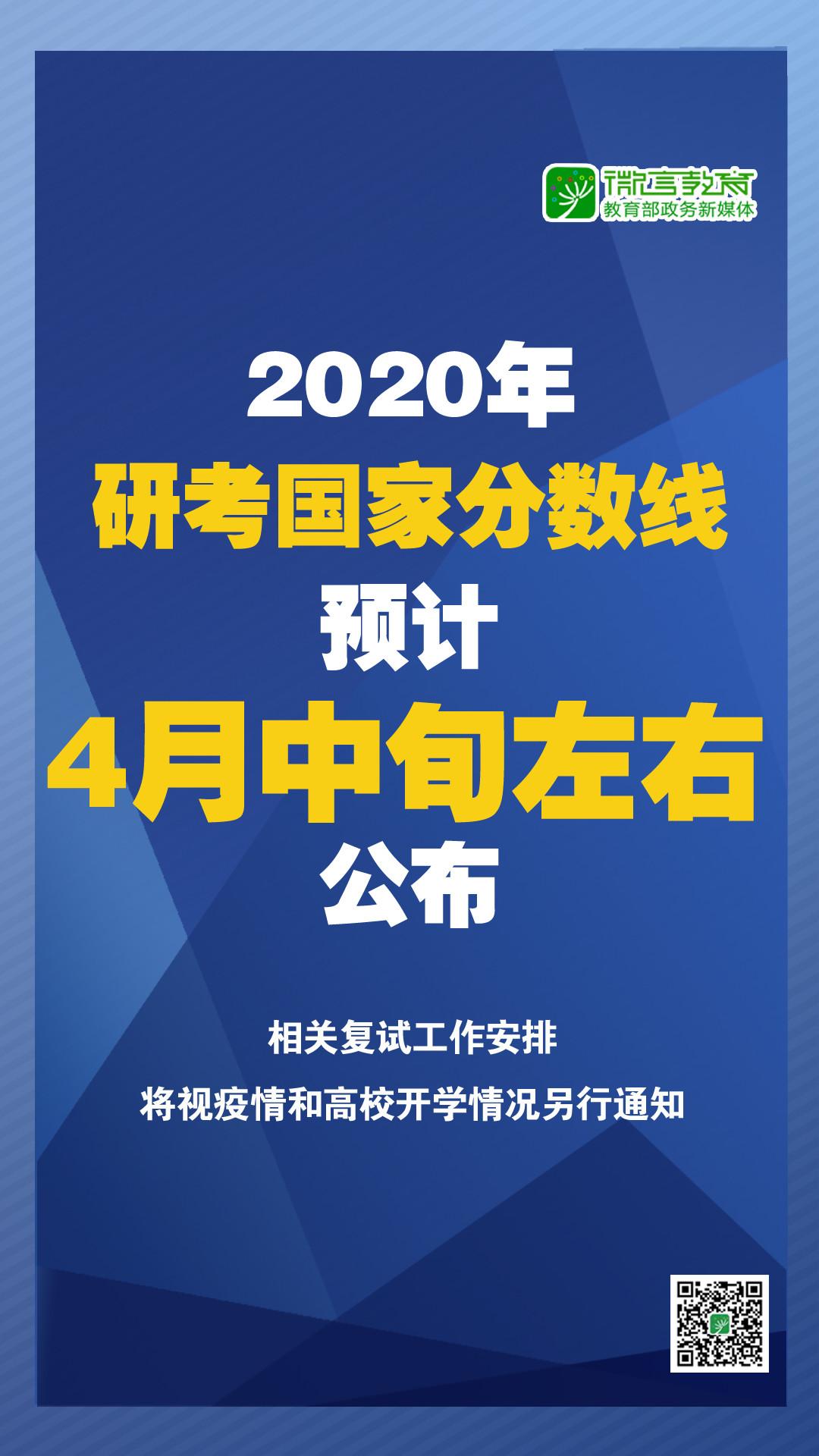 2020年研考国家分数线预计4月中旬左右公布