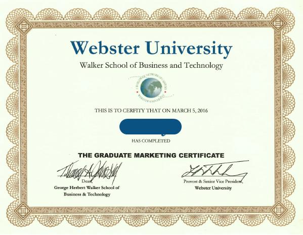 美国韦伯斯特大学结业证书
