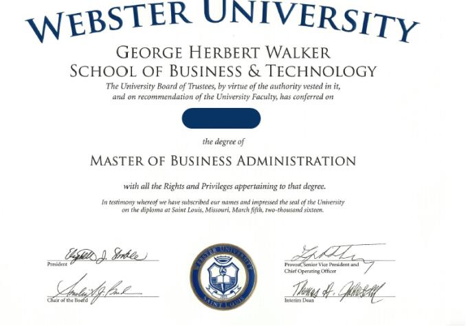 工商管理硕士学位证书