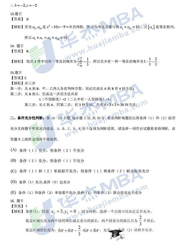 2013年mba联考真题_2013年管理类专业学位联考(MBA联考)数学答案解析_中国在职研究 ...
